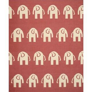 TLFT1PK Pink Handmade Wool Elephant Dhurrie Rug (6' x 9')