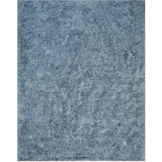 EORC Hand Woven Wool & Viscose Blue and Viscose Shaggy Rug (7'9 x 9'9)
