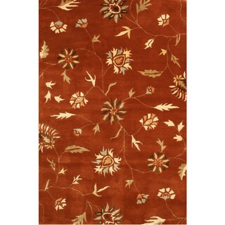 EORC Hand-tufted Wool Rust Modern Floral Rug (8'9 x 11'9)