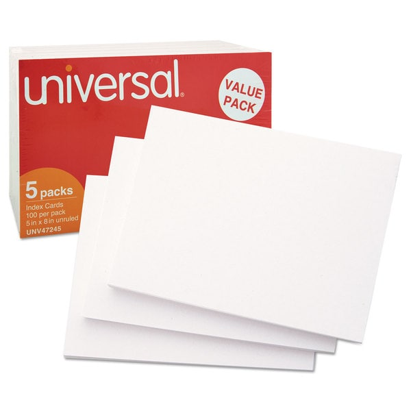 Universal White 5 x 8 Unruled Index Cards (Pack of 2)