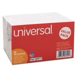 Universal White Ruled Index Cards (5 Packs of 500)