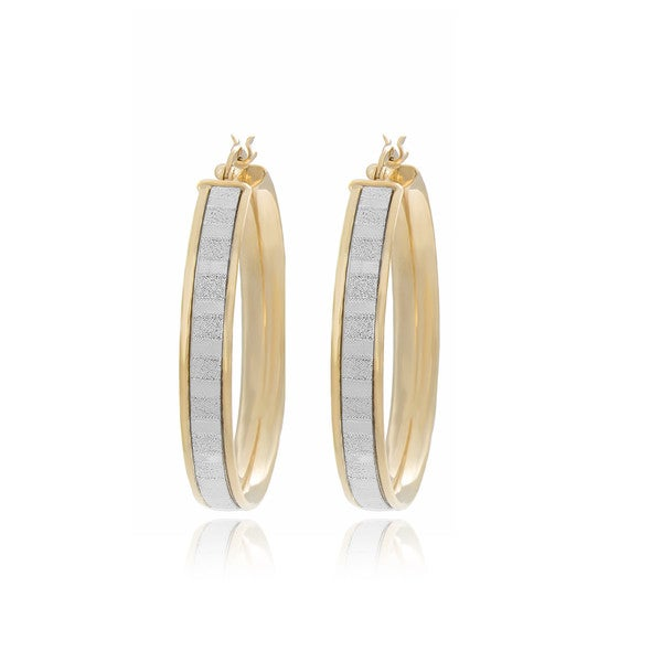 Sterling Essentials 14K Gold Plated Silver Glitter Hoop Earrings