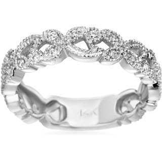 SummerRose 14K White Gold 0.25ct Pave Diamond Fashion Band (H-I, SI1-SI2)