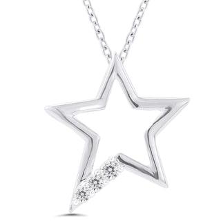 Sterling Silver 1/10ct TDW Diamond Star Pendant (I-J, I2-I3)