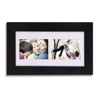 Adeco Decorative Black Wood Wall Hanging Picture Photo Frame with Mat and 2 Openings
