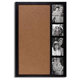 Adeco Decorative Black Wood Wall Hanging Collage Picture Photo Frame with Bulletin Board and 4 Openings