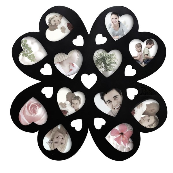 Adeco Decorative Black Wood Wall Hanging Multi-Heart, Flower-Shaped Collage Frame with 12 Openings