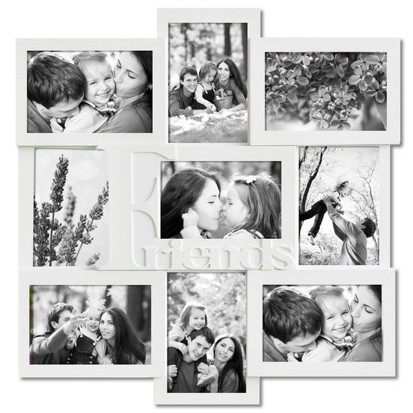 Adeco Decorative White Wood 'Friends' Wall Hanging Collage Picture Photo Frame with 9 Openings