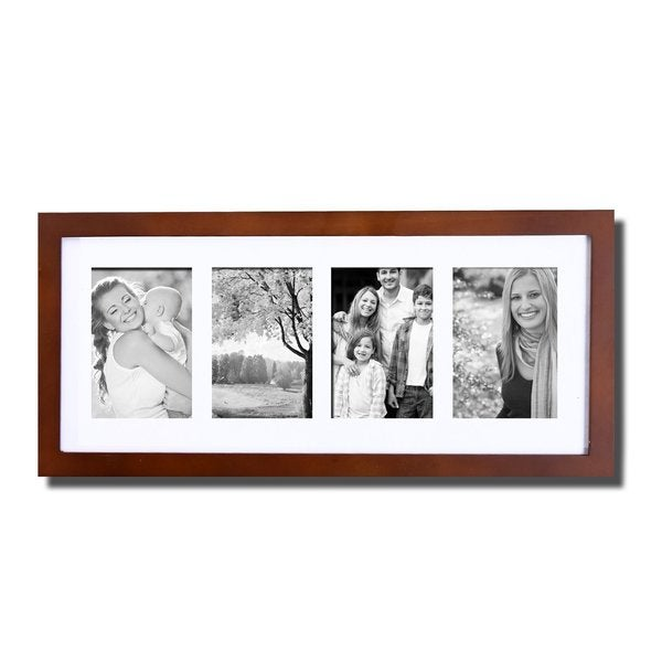 Adeco Decorative Walnut Color Wood Hanging Picture Photo Frame with Mat and 4 Openings