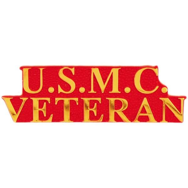 USMC Red Bold Faced Veteran Pin