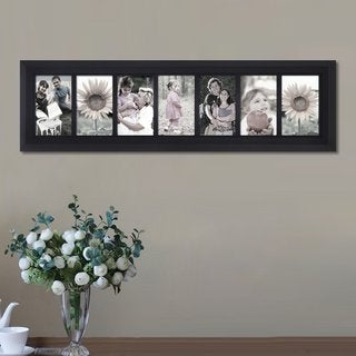 Adeco Decorative Black Wood Divided, Wall Hanging Picture Photo Frame with 7 Openings