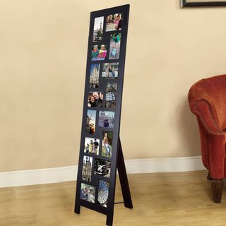 Adeco Black Wood Floor-Standing Easel Picture Photo Frame with 16 Openings