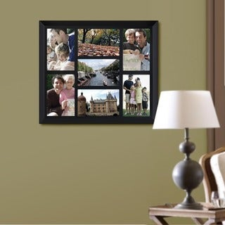Adeco Decorative Black Wood Wall Hanging Vertical and Horizontal Collage Picture Photo Frame with 7 Openings