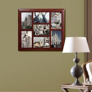 Adeco Decorative Walnut-color Wood Wall Hanging Vertical and Horizontal Collage Picture Photo Frame with 7 Openings