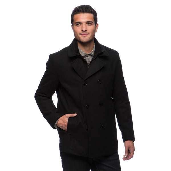 Kenneth Cole Men's Melton Wool Double Breasted Peacoat