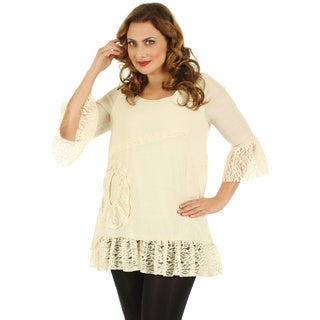 Firmiana Women's Plus Size Cream Lace 3/4-sleeve Blouse