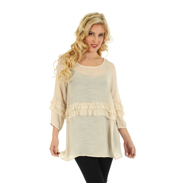 Firmiana Women's Beige Lace Trim 3/4-sleeve Blouse