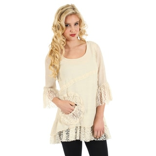 Women's Cream Lace 3/4-sleeve Blouse