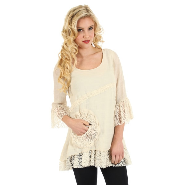Firmiana Women's Cream Lace 3/4-sleeve Blouse