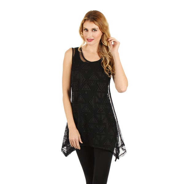 Firmiana Women's Black Lace Overlay Sleeveless Sidetail Blouse