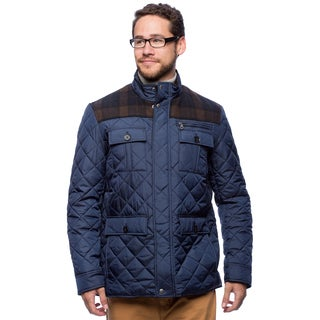 Cole Haan Men's 29.5-inch Plaid Wool Mixed Media Multi-pocket Jacket
