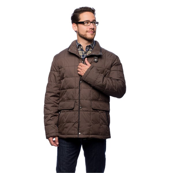 Cole Haan Men's 30-inch Down Jacket with Box Quilt Leather Trim
