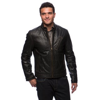 Marc New York Men's Radford Distressed Leather Moto Jacket with Diagonal Chest Zipper