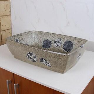 ELIMAX'S 2034 Rectangle Blue and Grey Glaze Porcelain Ceramic Bathroom Vessel Sink