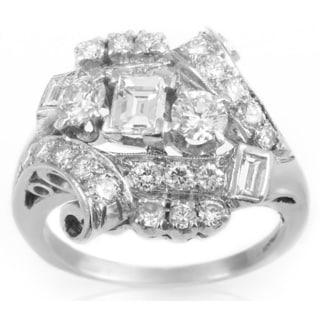Platinum 1 1/2ct TDW Diamond Estate Ring (G-H, VS1-VS2) (Size 6.5)