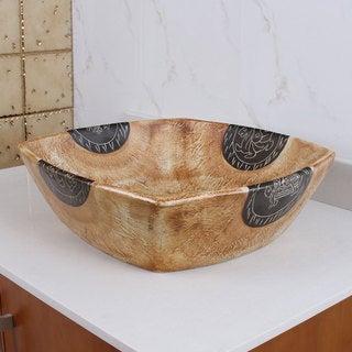 ELIMAX'S 2030 Square Matte Yellow Glaze Porcelain Ceramic Bathroom Vessel Sink