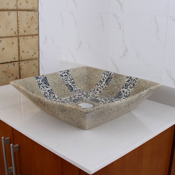 ELIMAX'S 2029 Square Blue and Grey Glaze Porcelain Ceramic Bathroom Vessel Sink