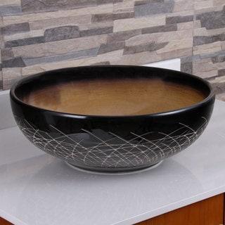 ELIMAX'S 2022 Ocher And Black Glaze Porcelain Ceramic Bathroom Vessel Sink
