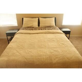 Texture ,100-percent cotton, 3-piece Queen Quilt Set (India)