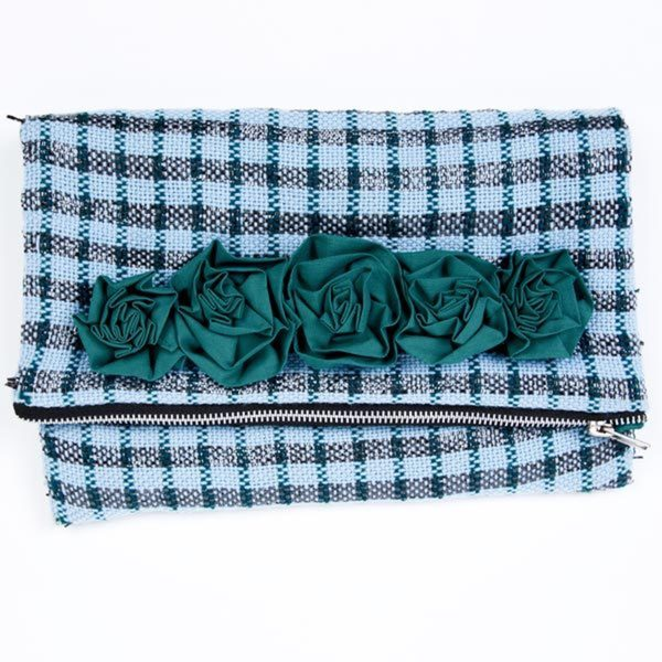 Blue Metallic Plaid Clutch (India)