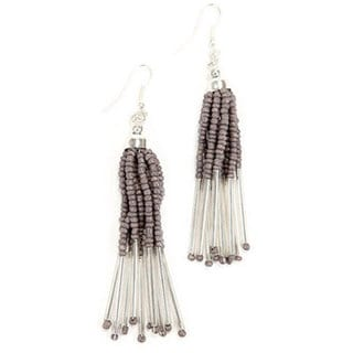 Silver Striped Strand Bead Earrings (India)