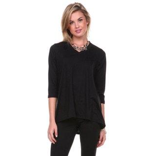 Stanzino Women's V-neck 3/4 Sleeve Solid Tunic