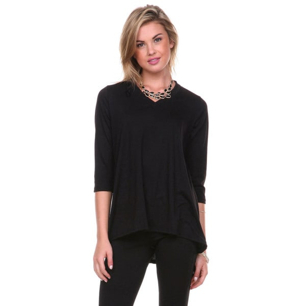 Stanzino Women's V-neck 3/4 Sleeve Solid Tunic