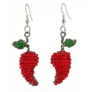 Handmade Beaded Chili Pepper Earrings (South Africa)
