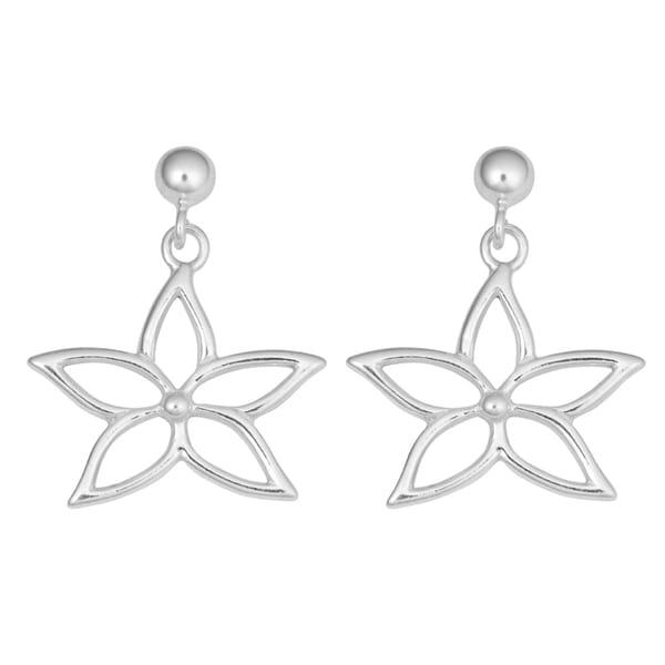 Fremada Sterling Silver Flower Post Drop Earrings