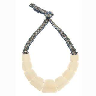 Faire Collection Tagua Nut Trapezoid Necklace in Cream (Ecuador)