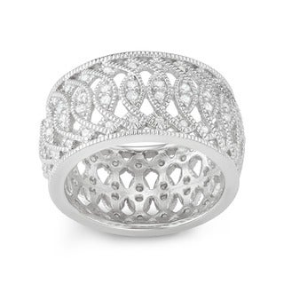 Journee Collection Sterling Silver Cubic Zirconia Wide Ring Band (12 mm)
