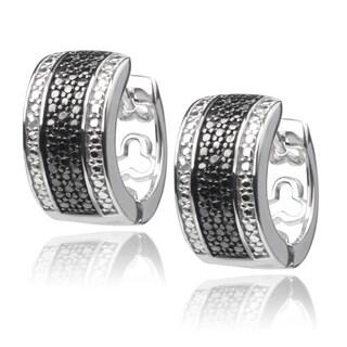 Journee Collection Sterling Silver Black Diamond Accent Huggie Hoop Earrings