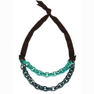 Faire Collection Dual Tagua Link Necklace in Aqua (Ecuador)