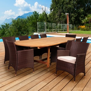 Amazonia Teak San Paolo 11-piece Teak/ Wicker Double Extendable Oval Patio Dining Set with Off-white Cushions