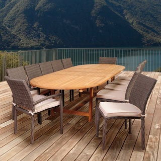 Amazonia Teak Ravello 13-piece Teak/ Wicker Double Extendable Oval Patio Dining Set with Off-white Cushions