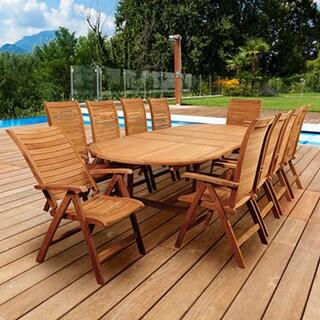 Amazonia Teak Turchini 11-piece Teak Double Extendable Oval Patio Dining Set