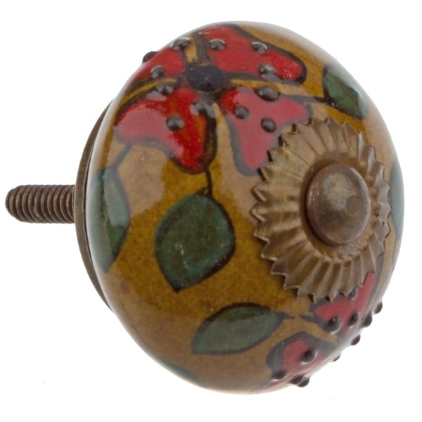 GlideRite Hand Painted 1.5-inch Ceramic Round Flower Cabinet Furniture Knob (Pack of 10 or 25)