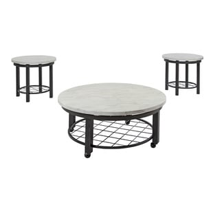 Signature Design by Ashley Shanileigh Black and White Tables (Set of 3)