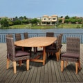 Amazonia Teak Sinclair 9-piece Wicker/ Teak Double Extendable Oval Patio Dining Set with Brown Cushions
