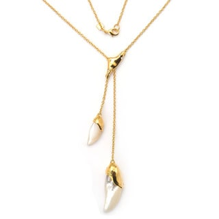De Buman 18K Yellow Goldplated or 18K Rose Goldplated Mother-of-Pearl Necklace